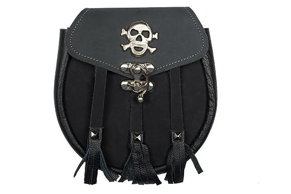 e77e69ab984ee Hochwertige Echtleder Kilt Tasche Sporran Schottenrock Tasche mit Skull    Vikinger Emblem - H15 Merch !