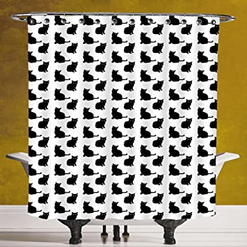 Amazoncom Funky Shower Curtain 30 Catcute Black Cat Figures On
