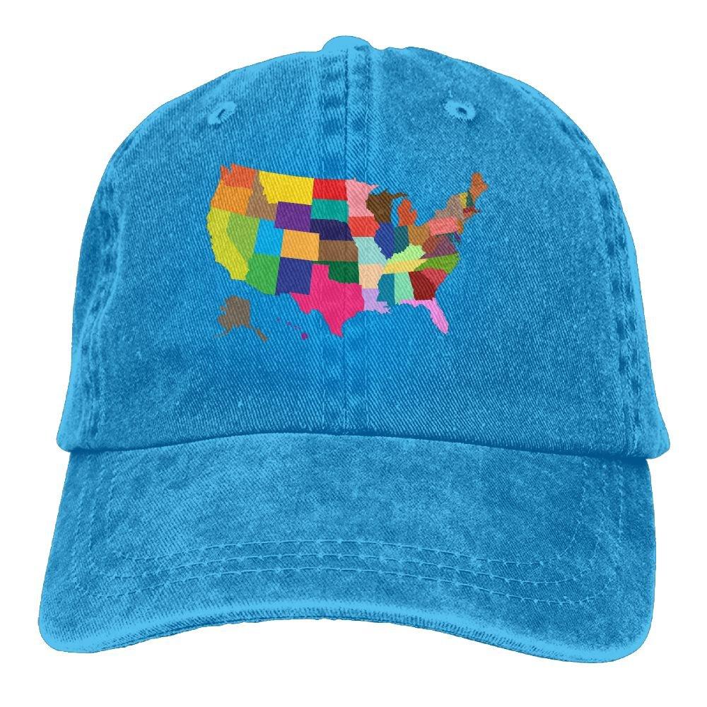 Trableade colorful United States Map Unisex Sport Adjustable Structured Baseball Cowboy Hat