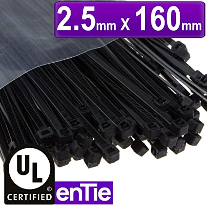 Pack of 100 2.5mm x 160mm Black Zip Cable Tie