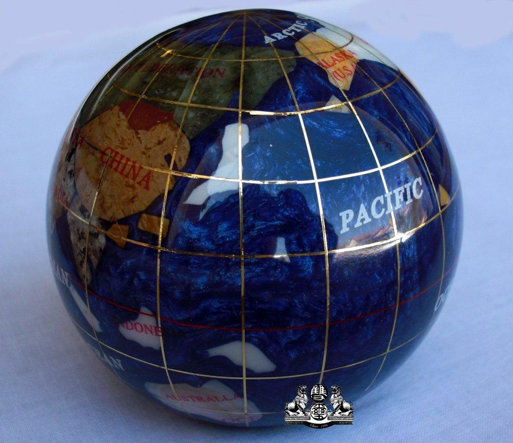 Unique Art 3-Inch Bahama Blue Pearl Swirl Ocean Gemstone World Globe Paper Weight