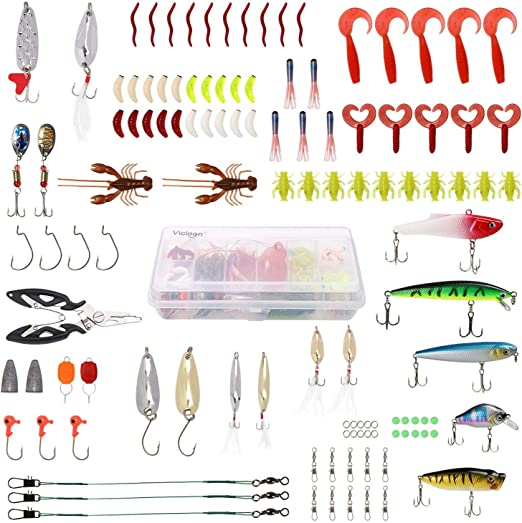 Vicloon 110 Piezas Señuelos Pesca, Cebo Pesca Contiene Black Bass ...