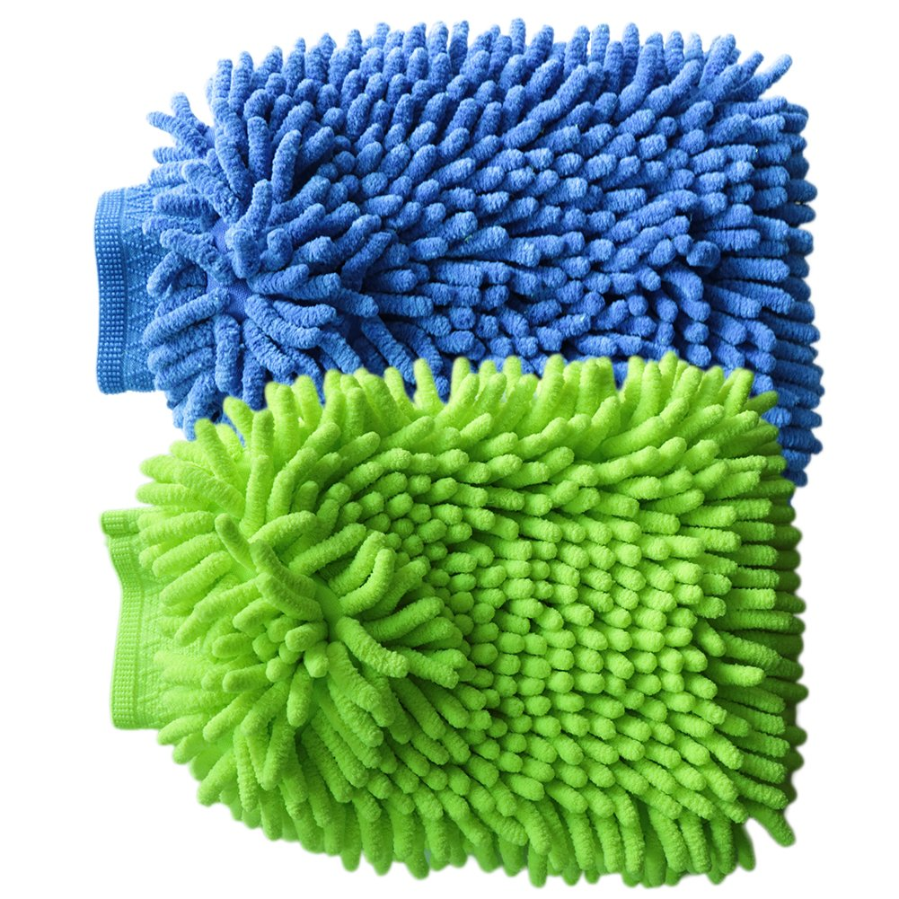 Car Wash Mitt VAPKER 2 Pack Chenille Microfiber Washing Mitts Ultra-soft Chenille Mitt Gloves Cleaning Cloth Car Wash Mop for Car Cleaning(1 Green +1 Blue)