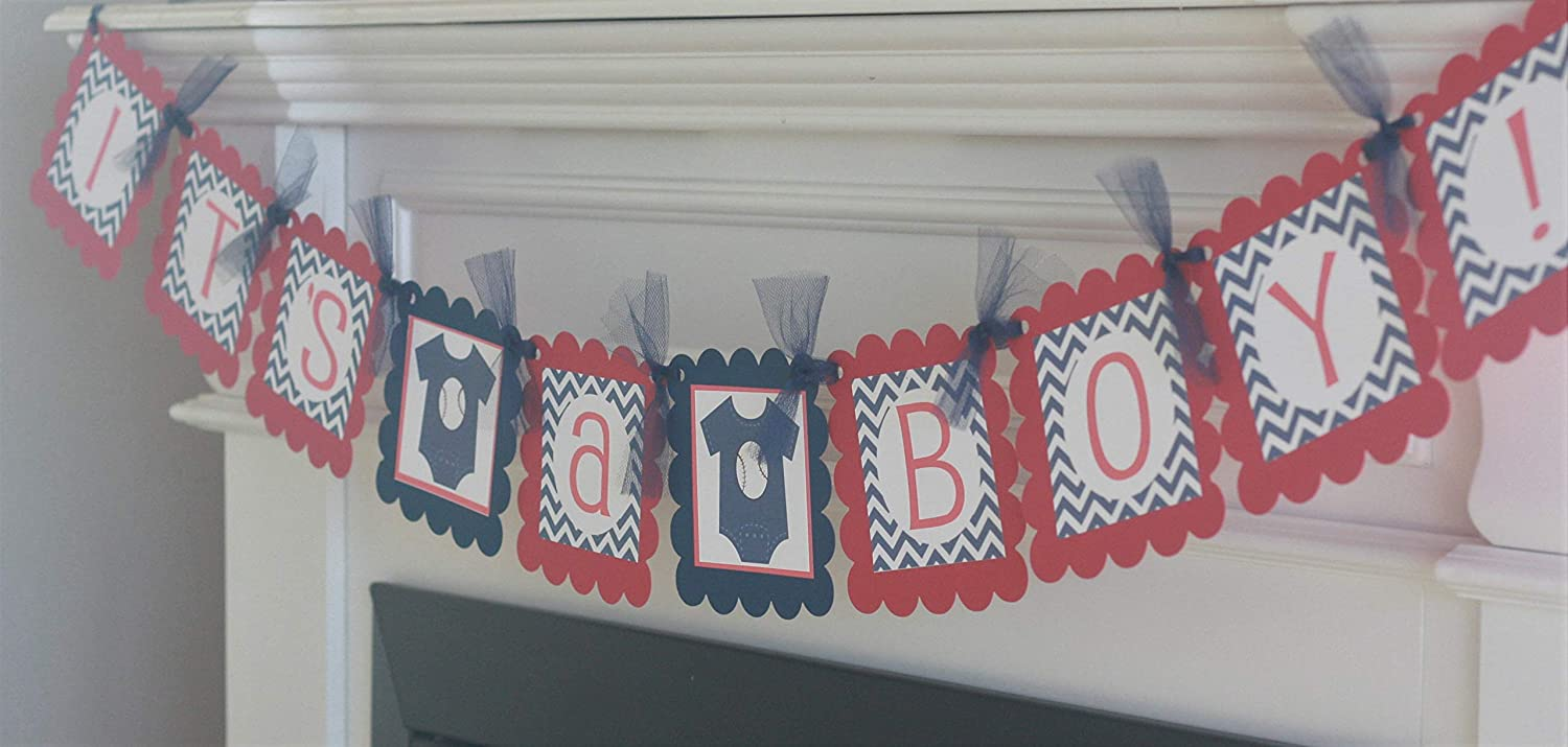 Its a Boy Football Basketball or Baseball Sports Theme Baby Shower Banner Ask About Party Pack Specials Navy Blue /& Red Chevron