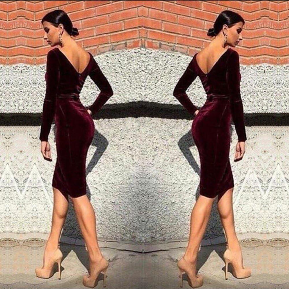 Minetom Donna Primavera Vestito Girocollo Manica Lunga Velluto Elegante Lunghezza del Ginocchio Dress Party Club Cocktail Matita Vestiti Vino rosso IT 46