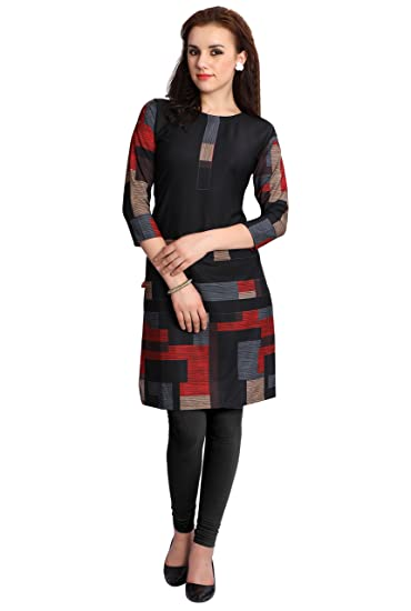 M.Tex Kurti For Women Black Color 3 4th Sleeves Boat Neck Crepe Kurta (Pack  of 1)  Amazon.in  Clothing   Accessories 5f5646adb