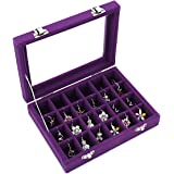 Ivosmart 24 Section Velvet Glass Jewelry Ring Display Organiser Box Tray Holder Earrings Storage Case (Purple)