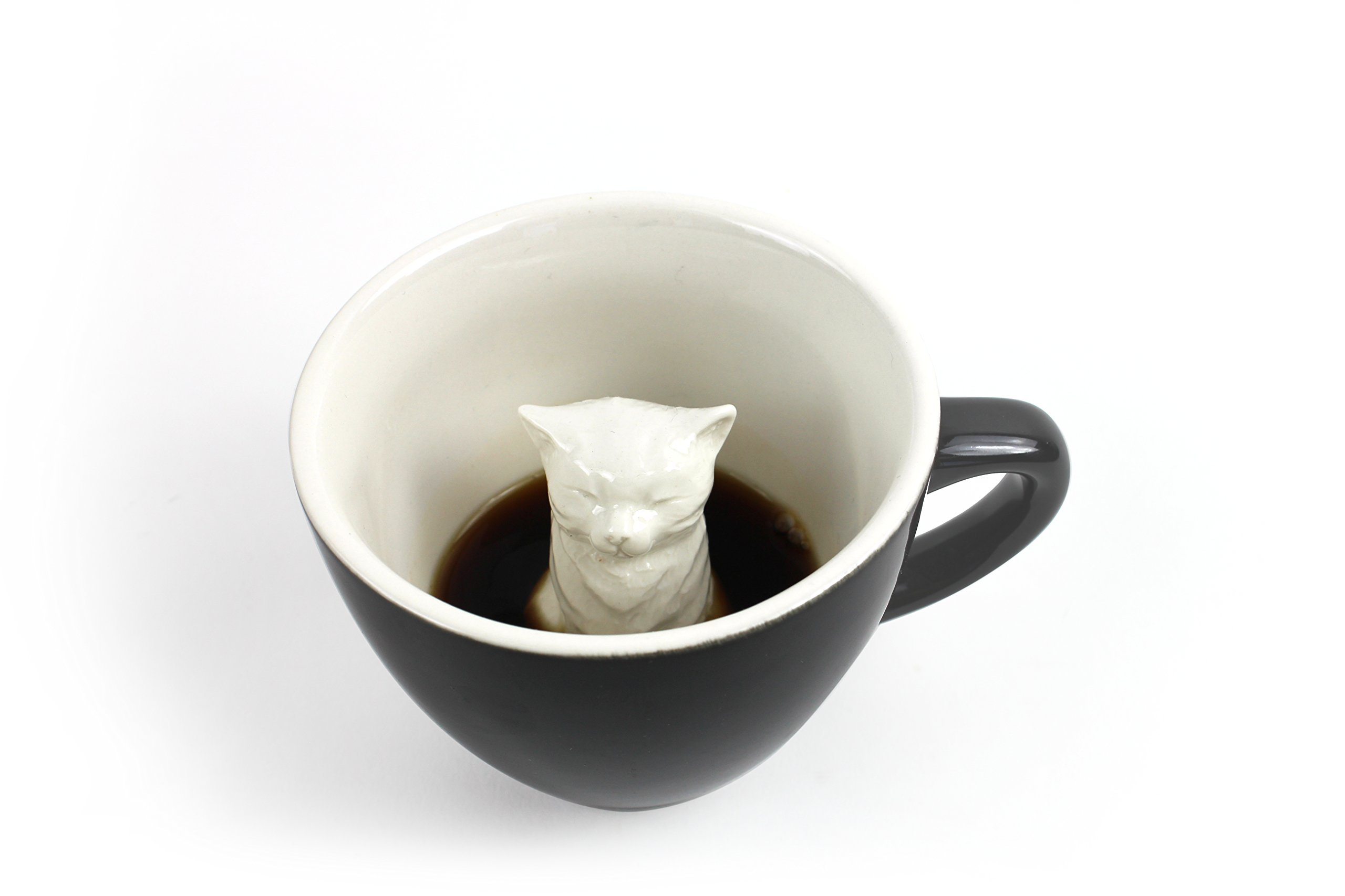 CREATURE CUPS Cat Ceramic Cup (11 Ounce, Black) | Hidden Creepy Animal Inside | Halloween, Holiday and Birthday Gift for Coffee & Tea Lovers