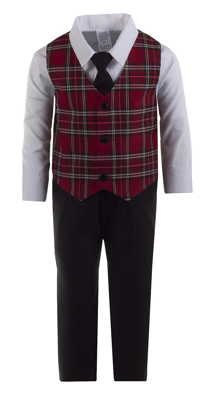 Kids Black Pant Set with Red Plaid Holiday Vest Set