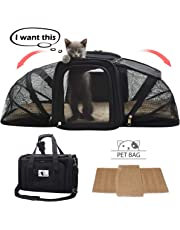 Soft-Sided Cat Carrier Expandable, FRUITEAM Pet Travel Carrier Airline Approved Cat Bag Foldable, Two Sides Expansion Pet Bag with Bedding, Collapsible Pet Handbag for Small Dogs/Cats/Puppy/Kitten