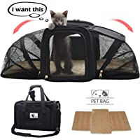 Soft-Sided Cat Carrier, Pet Travel Carrier Airline Approved, Two Sideds Expansion Pet Tote Bag with Washable Bedding, Collapsible Pet Travel Carrier for Small Dogs&Cats