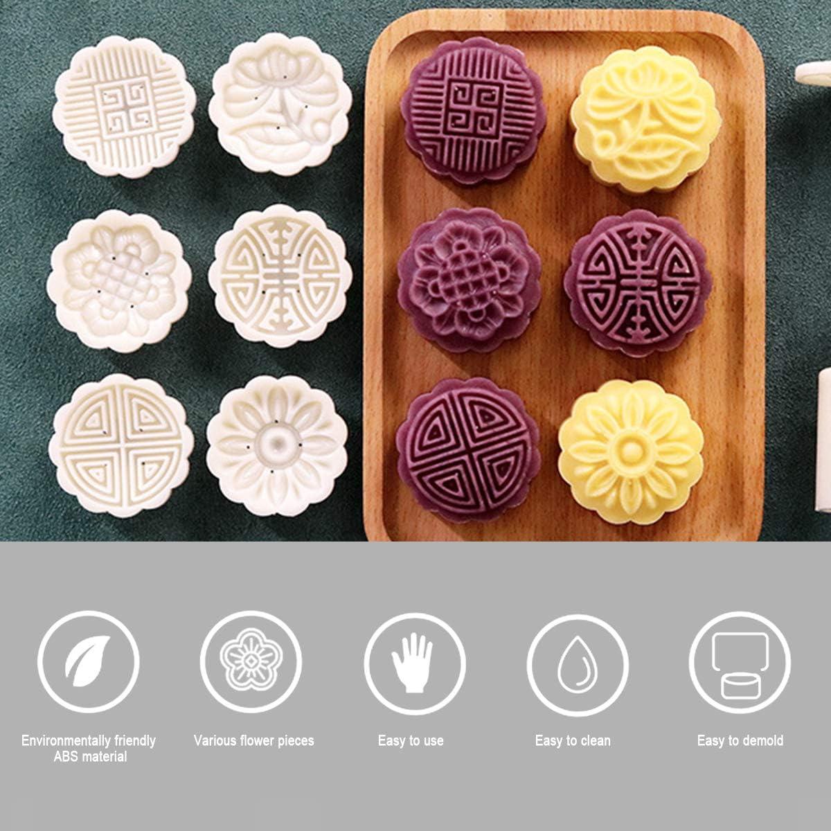 Huanup Stampi per Torta di Luna,Mooncake Stampi per Torta di Luna Sparabiscotti Professionale Acciaio Biscotti Stampi Dolci Fiore Animali Stampo per Sapone Handmade Bomba da Bagno 18 Stampini