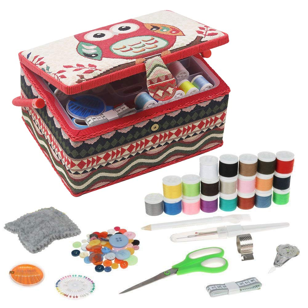 Sewing Basket with Sewing Kit Accessories, Large Sewing Box Organizer with Sewing Notions for Sewing Mending, Owl Pattern by D&D