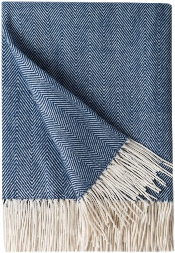 """BOURINA Decorative Herringbone Faux Cashmere Fringe Throw Blanket Lightweight Soft Cozy for Bed or Sofa Farmhouse Outdoor Throw Blankets, 50"""" x 60"""", Navy"""