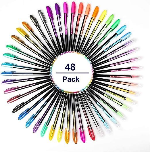 Mutsitaz 48 Colores Bolígrafos de Gel, bolis colores, incluye ...