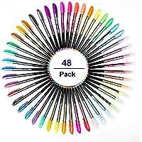 Fayttoli 48 Packs Color Gel Ink Pens Set voor Volwassen Kleurboeken, Tekenen en Schrijven Manga Markers met 1.0mm Tip (12 Metallic + 12 Glitter + 12 Neon + 12 Water Chalk)