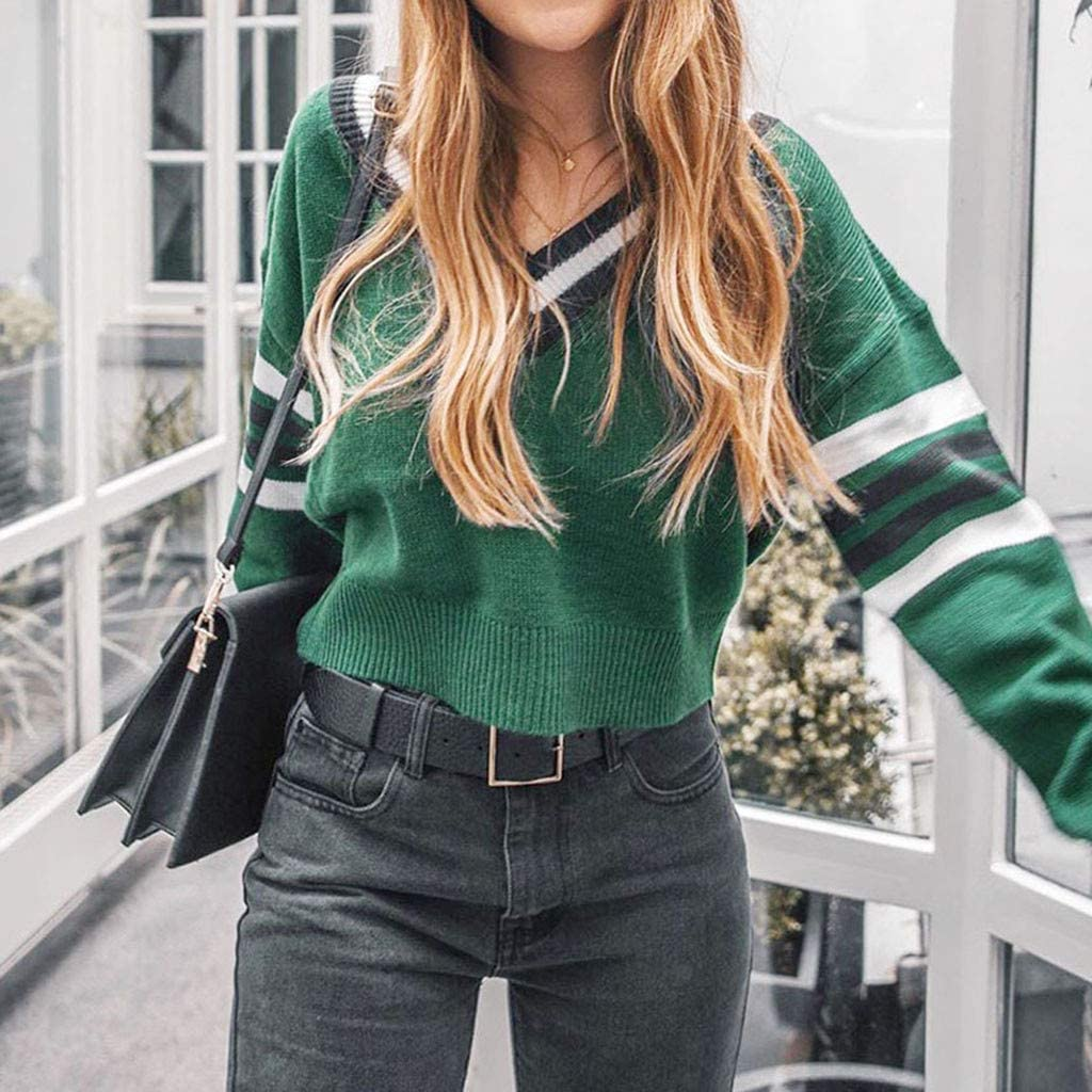 Amlaiworld Women Autumn Winter Sweater Fashion Crop Tops V-Neck Colorblock Long Sleeve Top