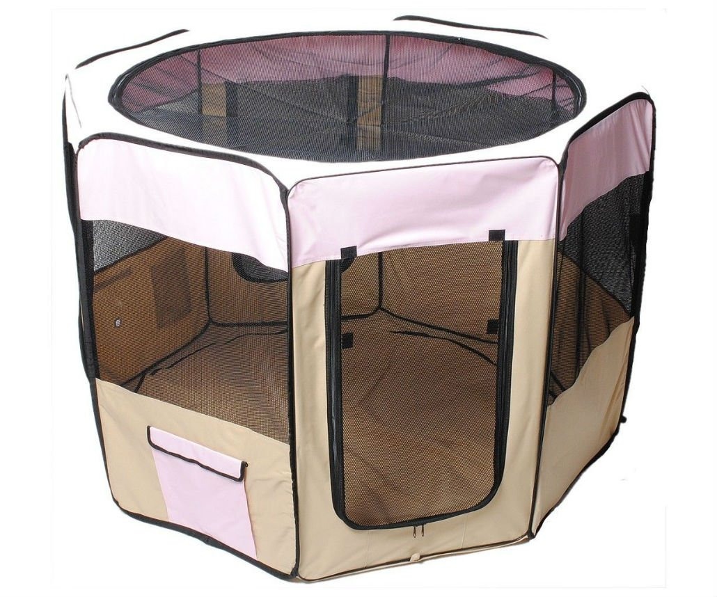 45'' Dog Kennel Pet Fence Puppy Soft Playpen Exercise Pen Folding Crate Pink New