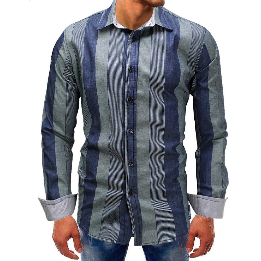 Men's Dress Shirts Striped Printed Beefy Retro Slim Fit Button Down Shirts Zulmaliu (Blue, 3XL)
