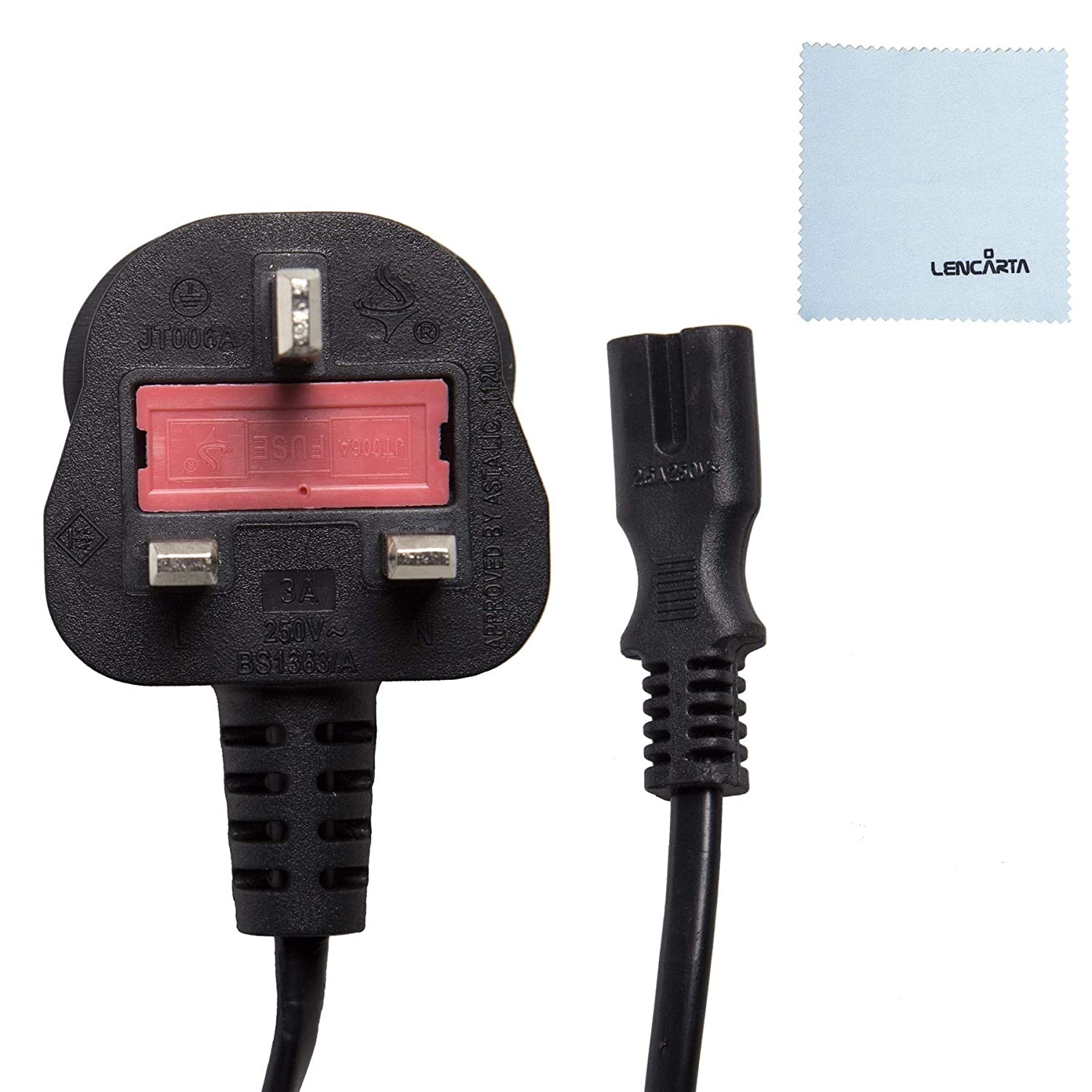 2 Prong 2 Pin AC Power Cord Cable Charge Adapter PC Laptop PS2 PS3 PS4 5 ft
