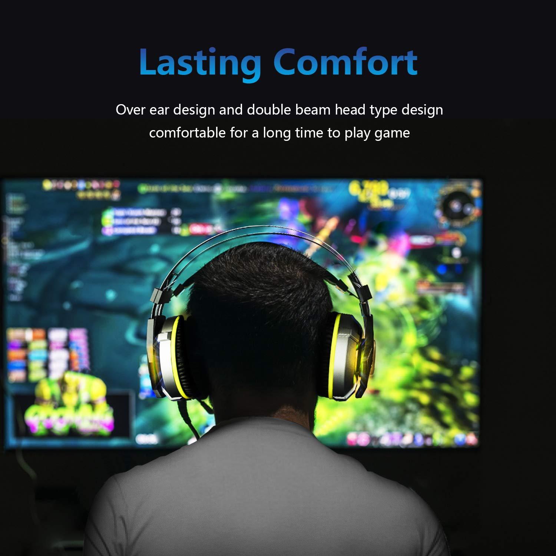 EKSA Gaming Headset PS4, 3,5mm Xbox One Headset mit Noise Cancelling Mikrofon, LED-Licht, Bass Surround Sound, 50mm Lautsprecher Treiber Kopfhörer für PC MAC Laptop IPad Smartphone (Gelb)