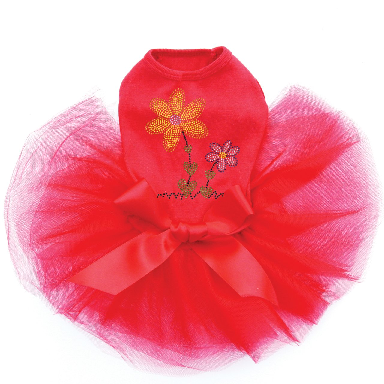 Orange & Purple Flowers - Bling Rhinestone Dog Tutu Dress, L Red by Dog in the Closet