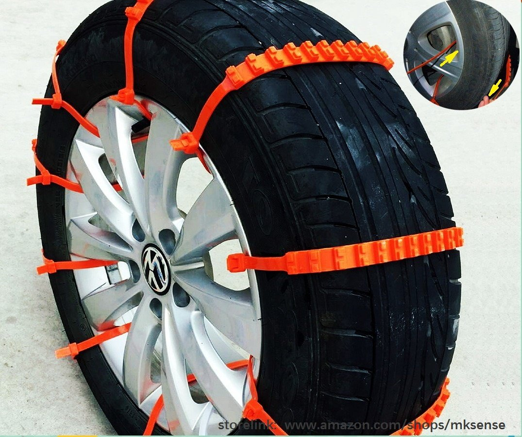 2nd Generation Easy Universal Fit Emergency Anti-Skid Mud Snow Survival Traction Multi-function Car Tire Chains for Pickup SUV Car Van ATV Jeep Honda Toyota Nissan VW Ford Mercede Benz BMW HTATMT Tyre