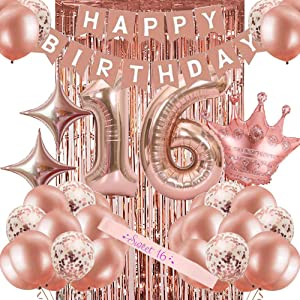 16th Birthday Decorations for Women, Rose Gold Sweet 16 Birthday Party Decoration for Her, 16th Happy Birthday Banner Kits Rosegold Balloons Decoration for Girls Women 16th Birthday Party Supplies
