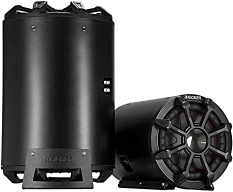 Kicker 45CWTB84 Car Audio Tube Enclosure w// 8 Inch 4 Ohm Subwoofer and Grill