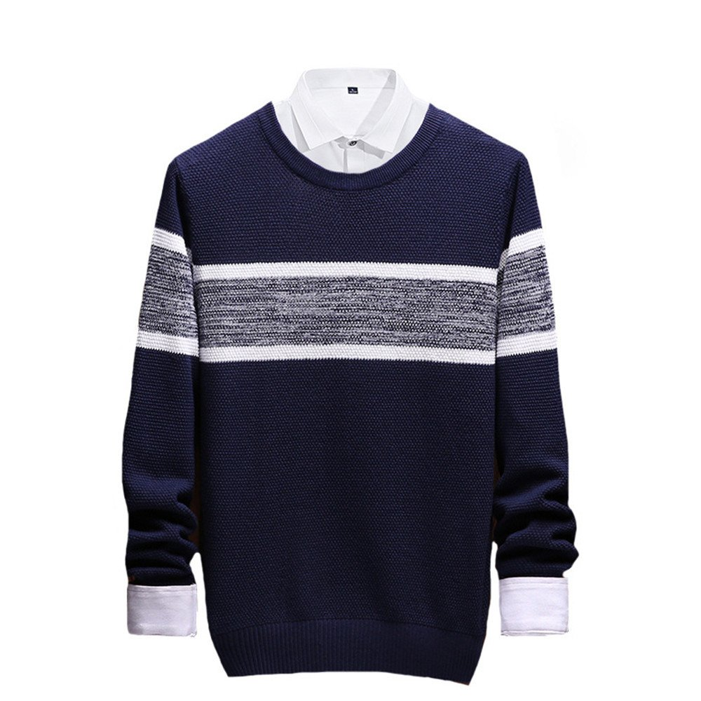 Jdfosvm männer langärmelige Pullover lässig Pullover gestreiften Pullover - t - Shirt aus Stimmen überein,Navy Blau,XL