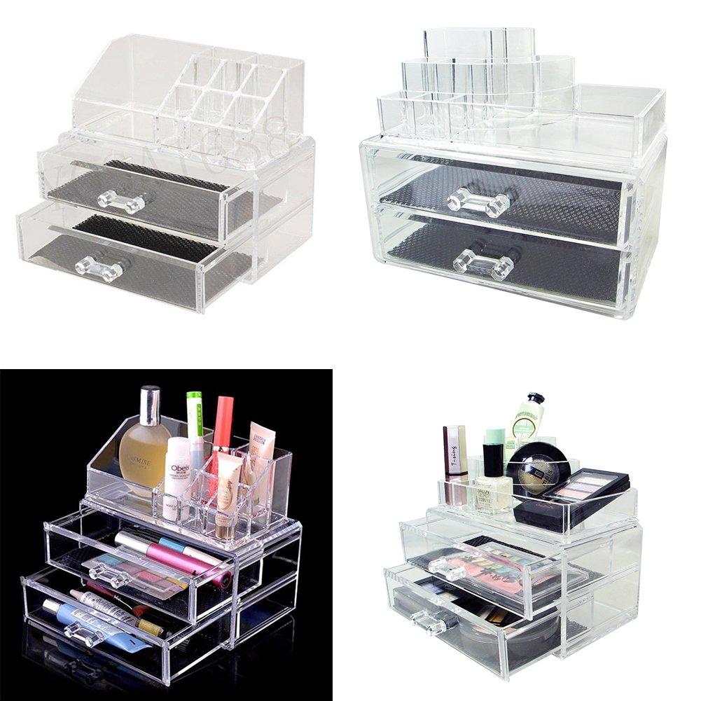 Rangement Maquillage Coffret Bijoux/Cosmetiques Presentoir Support Organisateur En Acrylique Transparent & 2 gros Tiroirs ARTIFUN