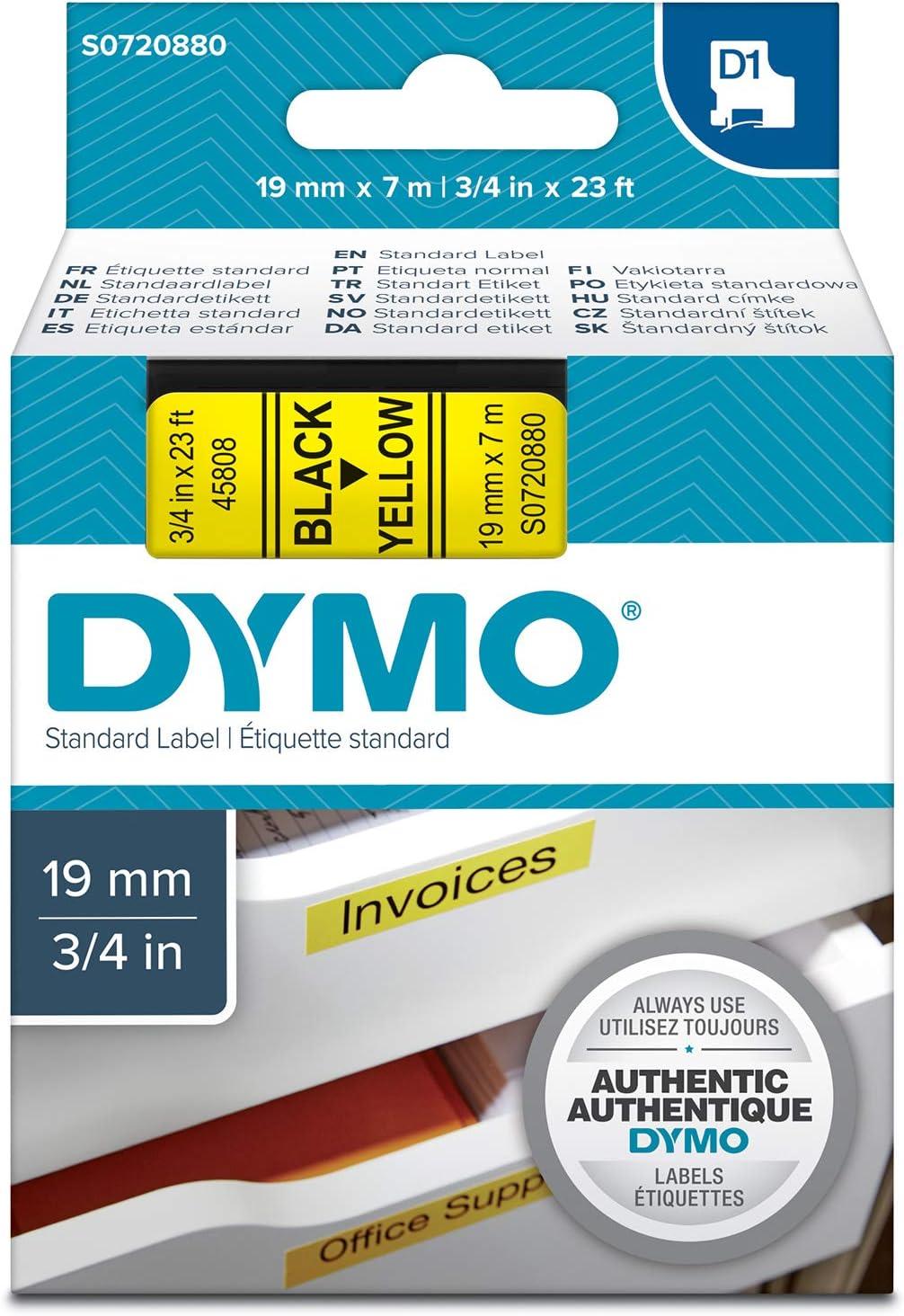 Schriftband schwarz auf transparent 19mm//7m Dymo D1-Band