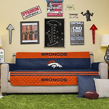 NFL Denver Broncos Sofa Couch Reversible Furniture Protector With Elastic  Straps, 75 Inches By