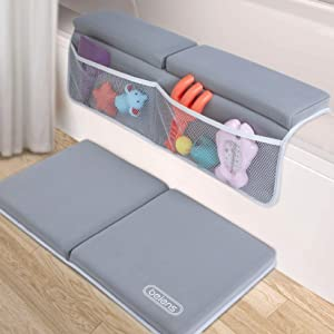 beiens Bath Kneeler and Elbow Rest Pad, 1.5'' Thick Quickly Dry Kneeling Pad and Elbow Support for Knee & Arm Support Large Bathtub Kneeling Mat with Toy Organizer for Happy Baby Bathing Time (Grey)