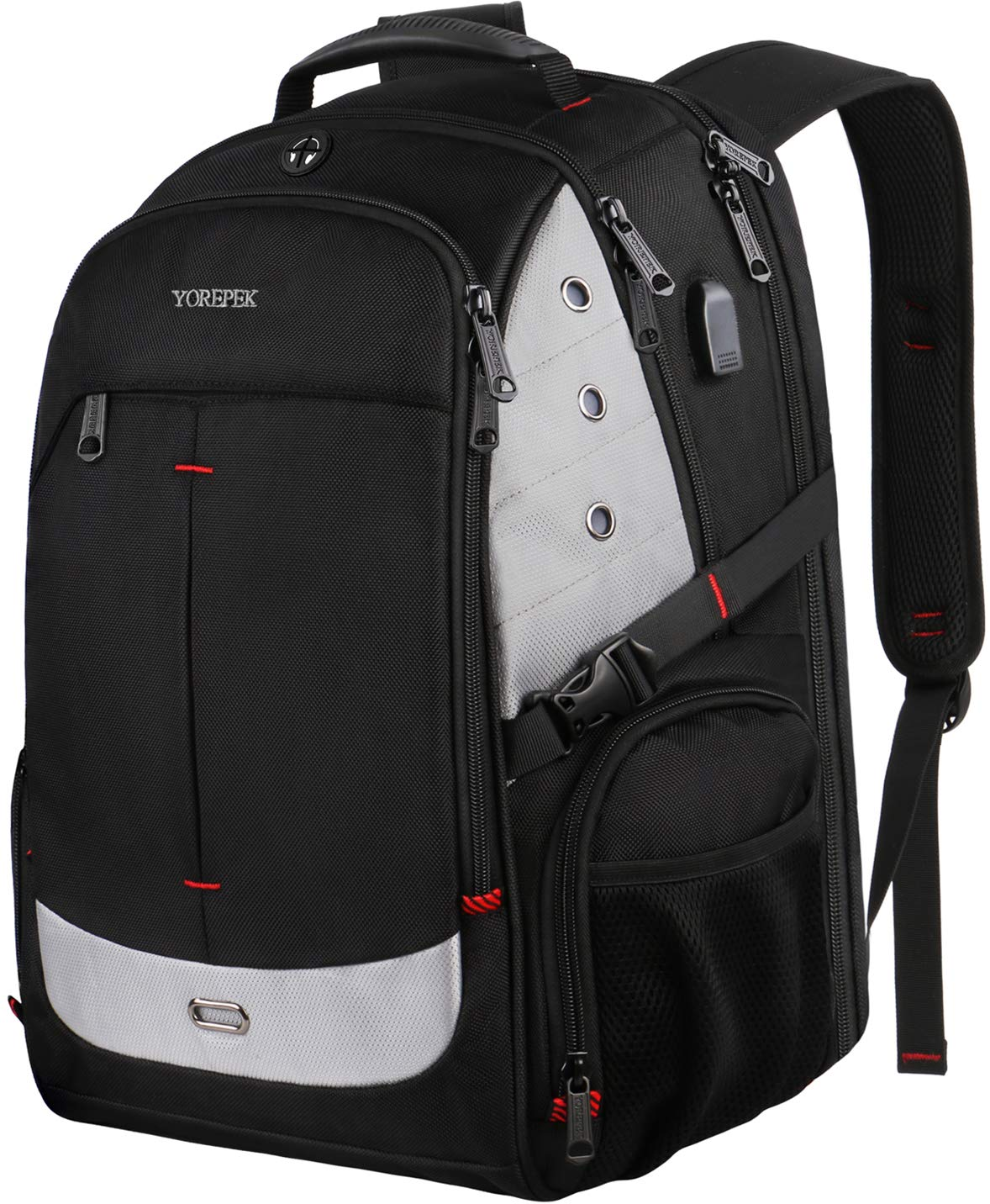 Large Laptop Backpack, 17 Inch Laptop Backpack with USB Charging Port for Men and Women,TSA Laptop Backpacks College School Backpack Business Computer Bookbag Fit 17in Laptops,Black by YOREPEK