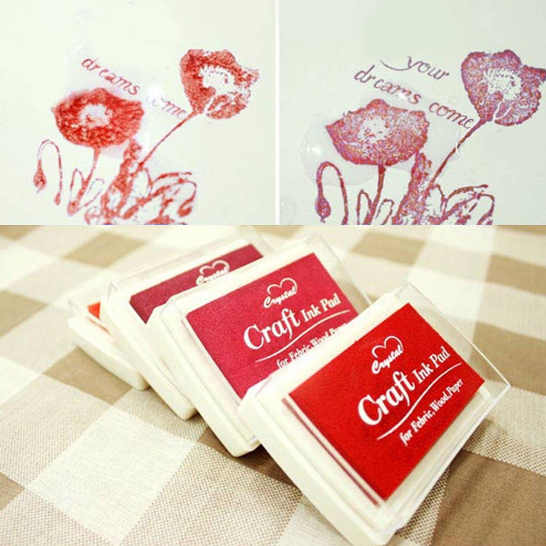 15Pcs portable Pad Printing Ink Pad encre tampon encre pad pour papier bois tissu bricolage peinture timbres mignon beau motif