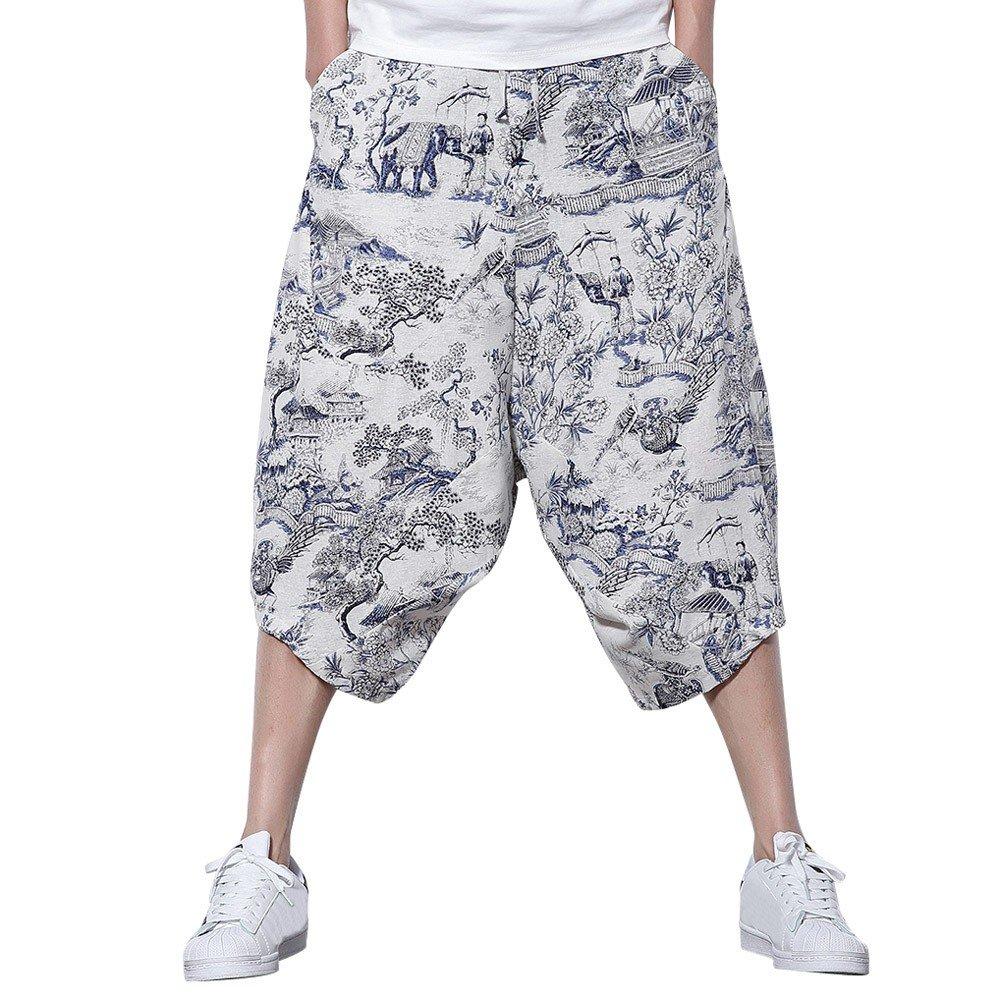 Clearance Sale Farjing Men's Floral Pattern Pants Relaxed Pants Cross Pants Wide pants (L,White)