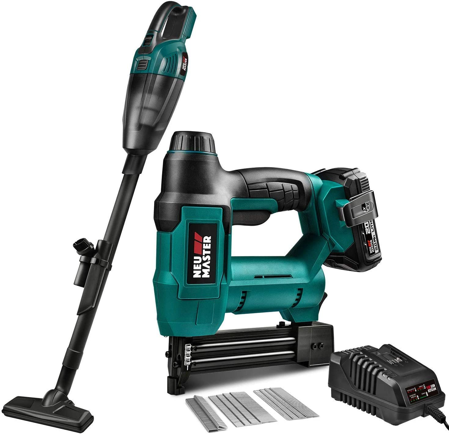 NEU MASTER Cordless Rechargeable Brad Nailer (2.0Ah Battery and Charger Included) and Cordless Vacuum Cleaner (Tool Only)
