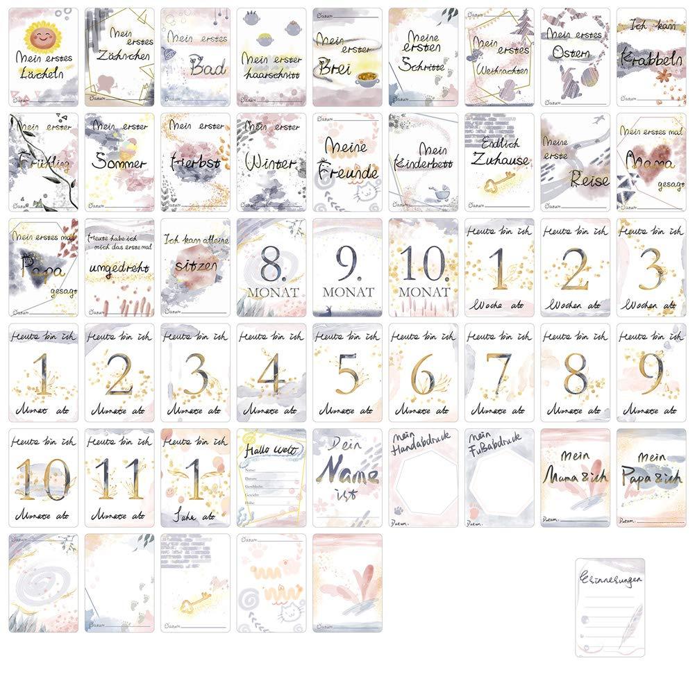 Babyparty Milestone Cards Meilenstein Karten Geschenkset Werdende Mutter Geschenk Rekord Babywachstum VICKSONGS 45+5 Baby Meilensteinkarten mit tragbarer Geschenkbox