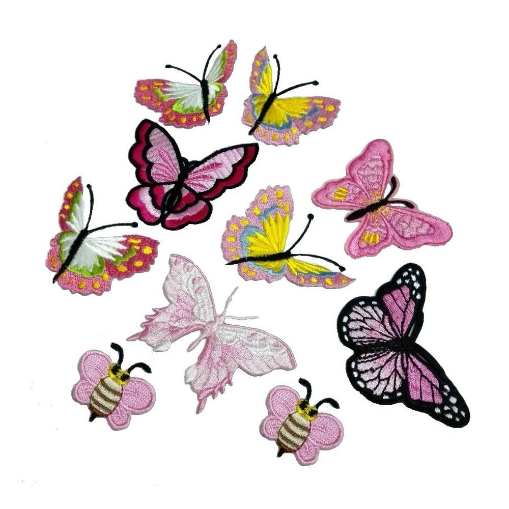 10 Piece Embroidery Iron On Appliques Blue Butterfly Motifs Craft Sewing Embroidery Patches FJTANG