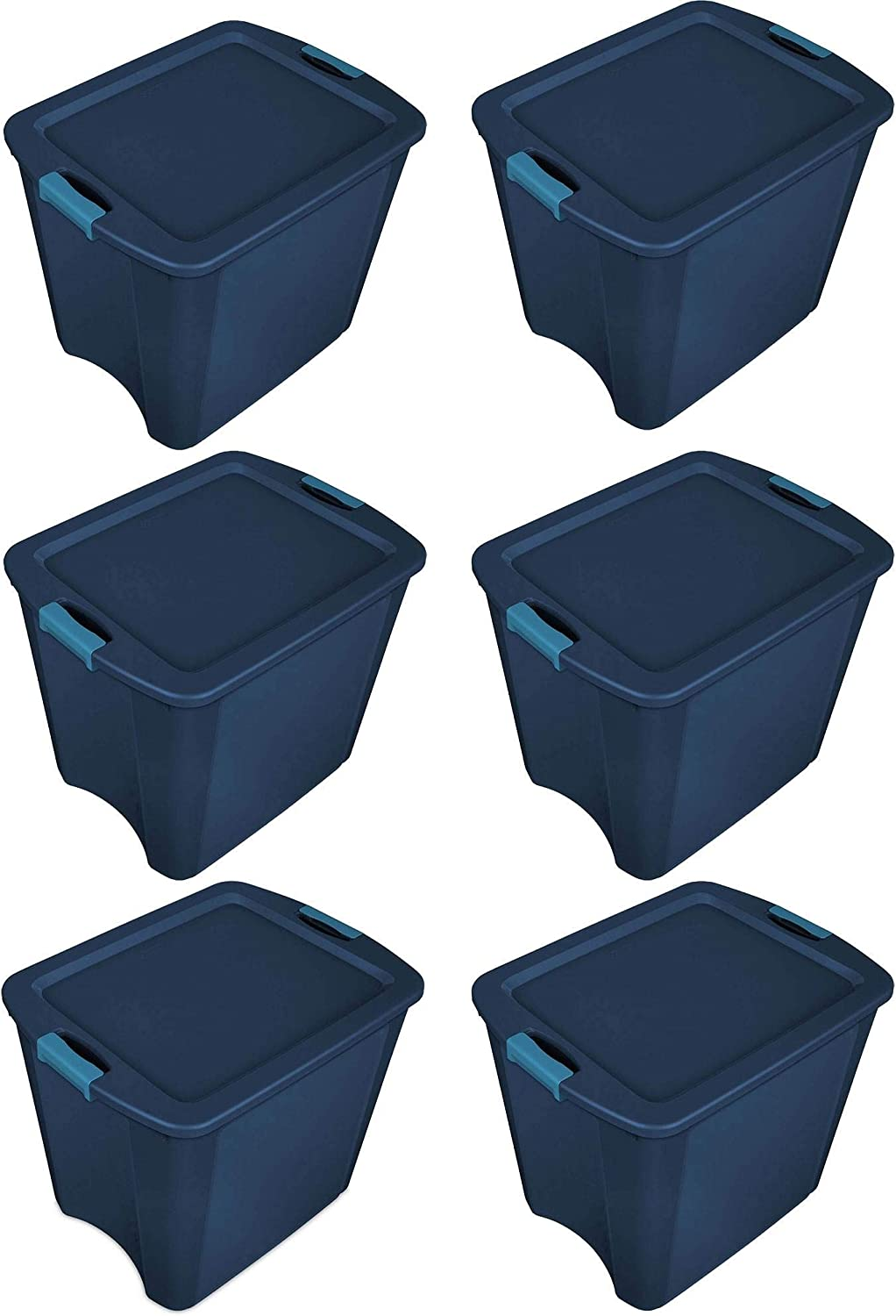 Sterilite 26 Gallon Latch and Carry Storage Tote, True Blue | 14487404 (6 Pack)