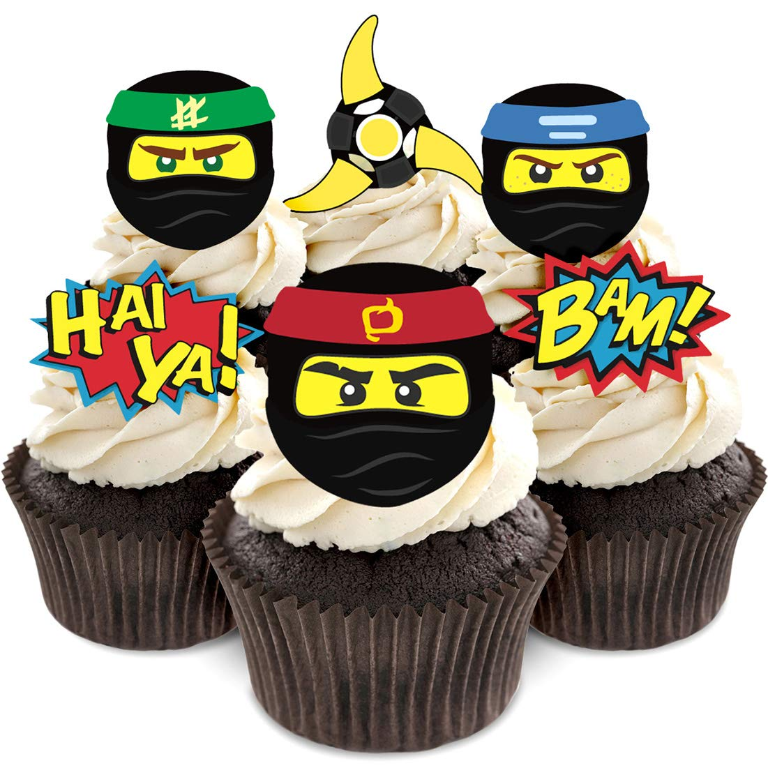 Ninja Cupcake Toppers For Lego Ninjago Themed Birthday Party Supplies Amazonca Grocery