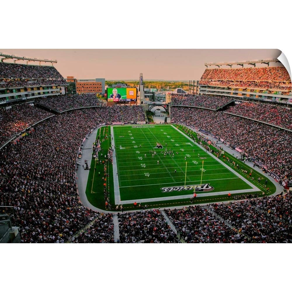 """CANVAS ON DEMAND Panoramic Images Wall Peel Wall Art Print Entitled Elevated View of Gillette Stadium, New England Patriots 18""""x12"""""""