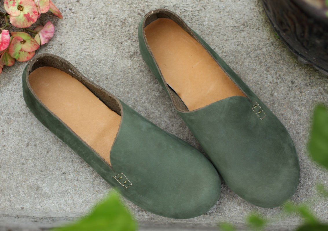 Soojun Womens Plain Nubuck Slip-On Shoe Folk Flat B01FVXX6SI US 7/CN 38|Green