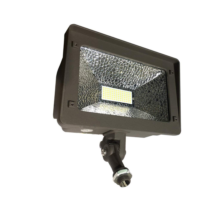 JMKMGL LED Flood Light Dusk to Dawn, 180° Adjustable Arm, 50W (250W Equivalent), Waterproof Outdoor Landscape, 5000K 5500lm 100-277Vac ETL Qualified DLC Listed (50W Photocell)