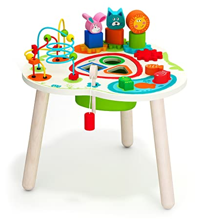 Amazoncom Wooden Activity Table With Bead Maze Cube And Beads Wire