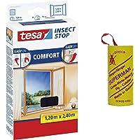Tesa Comfort - Mosquitera, Schwarz 1,2m:2,4m + Fliegenfänger