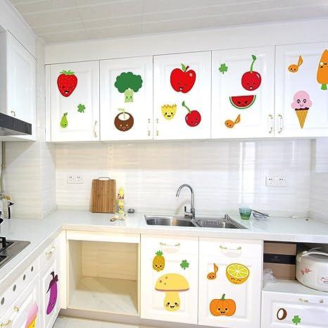 Amazon Com Bibitime Fruit Wall Decals Kitchen Art Stickers Strawberry Mushrooms Green Vegetables Pumpkin Watermelon Carrot Eggplant Cherry Orange Ice Cream Lockers Window Tile Decor Arts Crafts Sewing