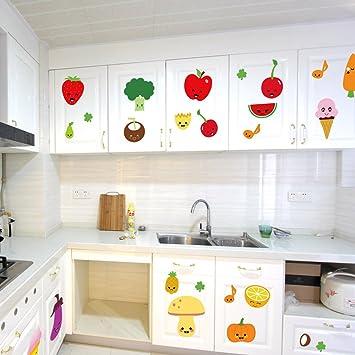 BIBITIME Fruit Wall Decals Kitchen Art Stickers Strawberry Mushrooms Green  vegetables Pumpkin Watermelon Carrot Eggplant Cherry Orange Ice cream ...