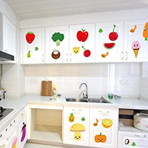 BIBITIME Fruit Wall Decals Kitchen Art Stickers Strawberry Mushrooms Green vegetables Pumpkin Watermelon Carrot Eggplant Cherry Orange Ice cream Lockers Window Tile Decor